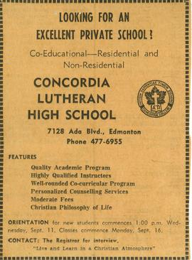 Concordia Lutheran High School : co-educational -- residential and non-residential