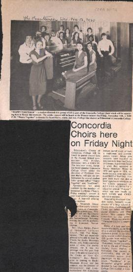 Concordia choirs here on Friday night