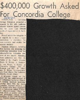 $400,000 growth asked for Concordia College