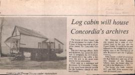 Log cabin will house Concordia's archives