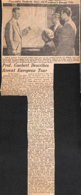 Prof. A. Guebert describes recent European tour