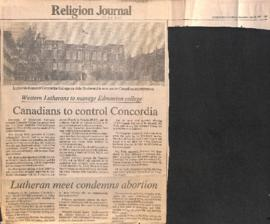Canadians to control Concordia : western Lutherans to manage Edmonton college