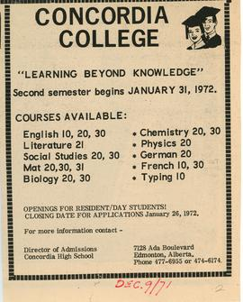 "Concordia College ""learning beyond knowledge"""
