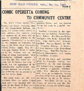 Comic operetta coming to community centre
