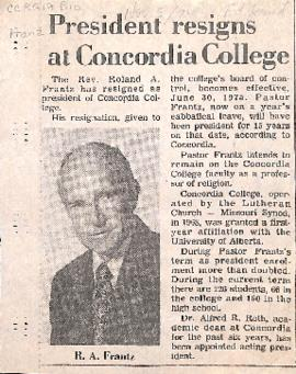 President resigns at Concordia College