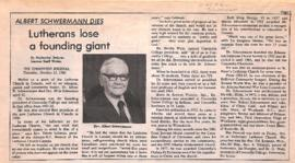 Lutherans lose a founding giant : Albert Schwermann dies