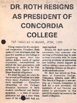 Dr. Roth resigns as president of Concordia College