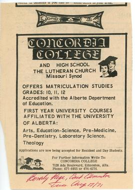 Concordia College and high school, the Lutheran Church Missouri Synod