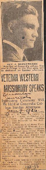 Veteran western missionary speaks : interesting ceremony will be held at Concordia College Sunday...