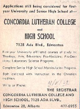 Applications still being considered for first-year University and Senior High School at Concordia...