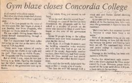 Gym blaze closes Concordia College