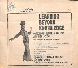 Learning beyond knowledge : Concordian Lutheran College and High School