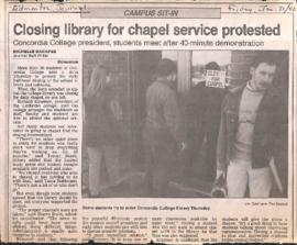Closing library for chapel service protested : Concordia College president, students meet after 4...