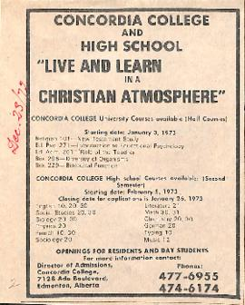 "Concordia College and High School : ""live and learn in a christian atmosphere"""