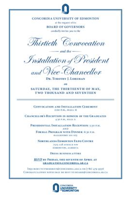 Thirtieth Convocation and the Installation of President and Vice-Chancellor Dr. Timothy J. Lorema...