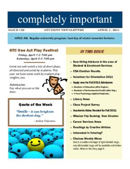 Concordia Weekly Newsletter Volume 01/Issue 29
