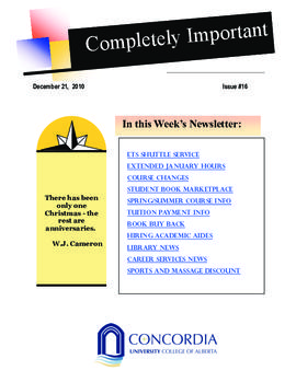 Concordia Weekly Newsletter Volume 01/Issue 16