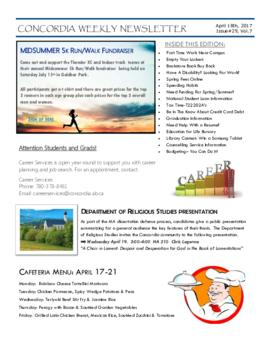 Concordia Weekly Newsletter Volume 07/Issue 29