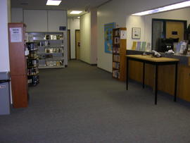 Circulation desk and hold shelf