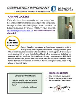 Concordia Weekly Newsletter Volume 02/Issue 37