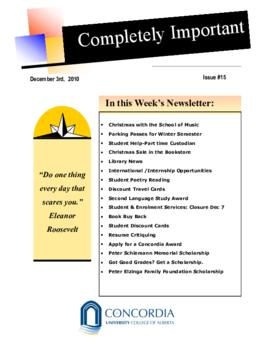 Concordia Weekly Newsletter Volume 01/Issue 15