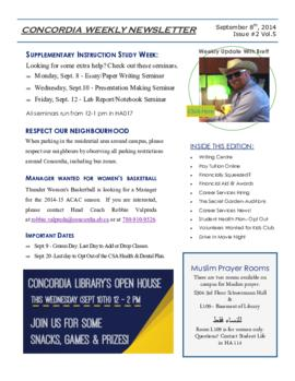 Concordia Weekly Newsletter Volume 05/Issue 02