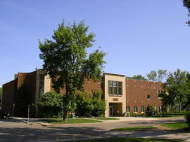 South side view of library building