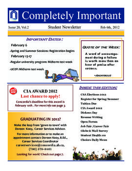 Concordia Weekly Newsletter Volume 02/Issue 20