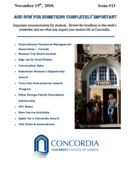 Concordia Weekly Newsletter Volume 01/Issue 13