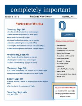 Concordia Weekly Newsletter Volume 02/Issue 01