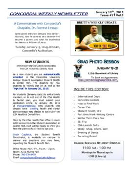 Concordia Weekly Newsletter Volume 05/Issue 17