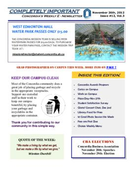Concordia Weekly Newsletter Volume 03/Issue 12