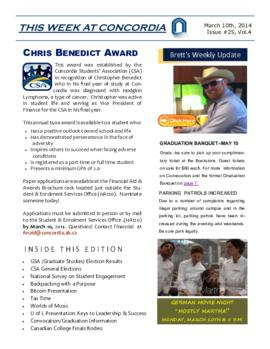 Concordia Weekly Newsletter Volume 04/Issue 25