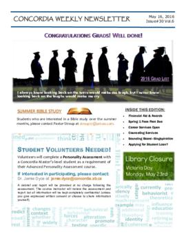 Concordia Weekly Newsletter Volume 06/Issue 30