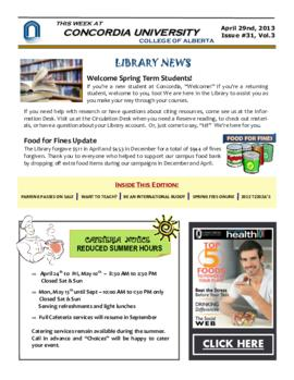 Concordia Weekly Newsletter Volume 03/Issue 31