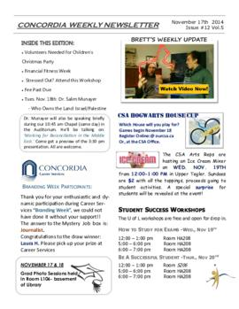 Concordia Weekly Newsletter Volume 05/Issue 12