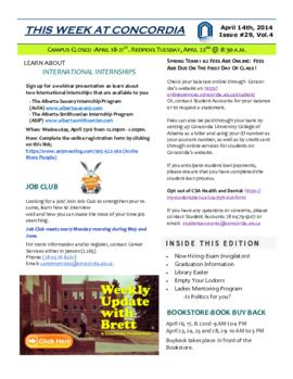 Concordia Weekly Newsletter Volume 04/Issue 29