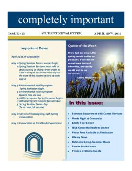 Concordia Weekly Newsletter Volume 01/Issue 33