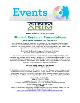 MRIA Alberta Chapter Event Student Research Presentations