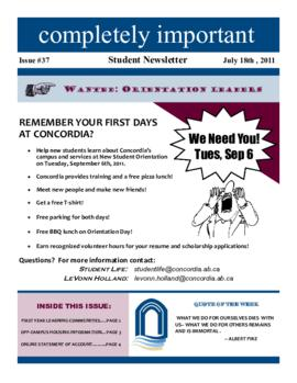 Concordia Weekly Newsletter Volume 01/Issue 37