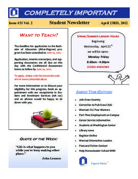 Concordia Weekly Newsletter Volume 02/Issue 31
