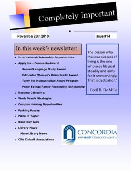 Concordia Weekly Newsletter Volume 01/Issue 14