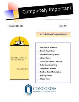 Concordia Weekly Newsletter Volume 01/Issue 17