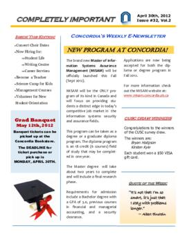 Concordia Weekly Newsletter Volume 02/Issue 32