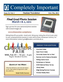 Concordia Weekly Newsletter Volume 02/Issue 23
