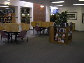 Main floor study desks and book display cube