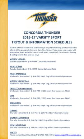 Concordia Thunder 2016-17 varsity sport tryout and information schedules