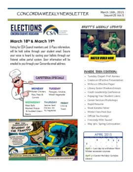 Concordia Weekly Newsletter Volume 05/Issue 25