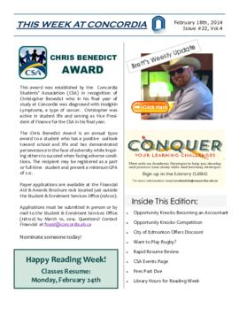 Concordia Weekly Newsletter Volume 04/Issue 22