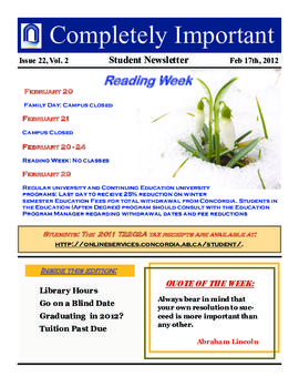 Concordia Weekly Newsletter Volume 02/Issue 22